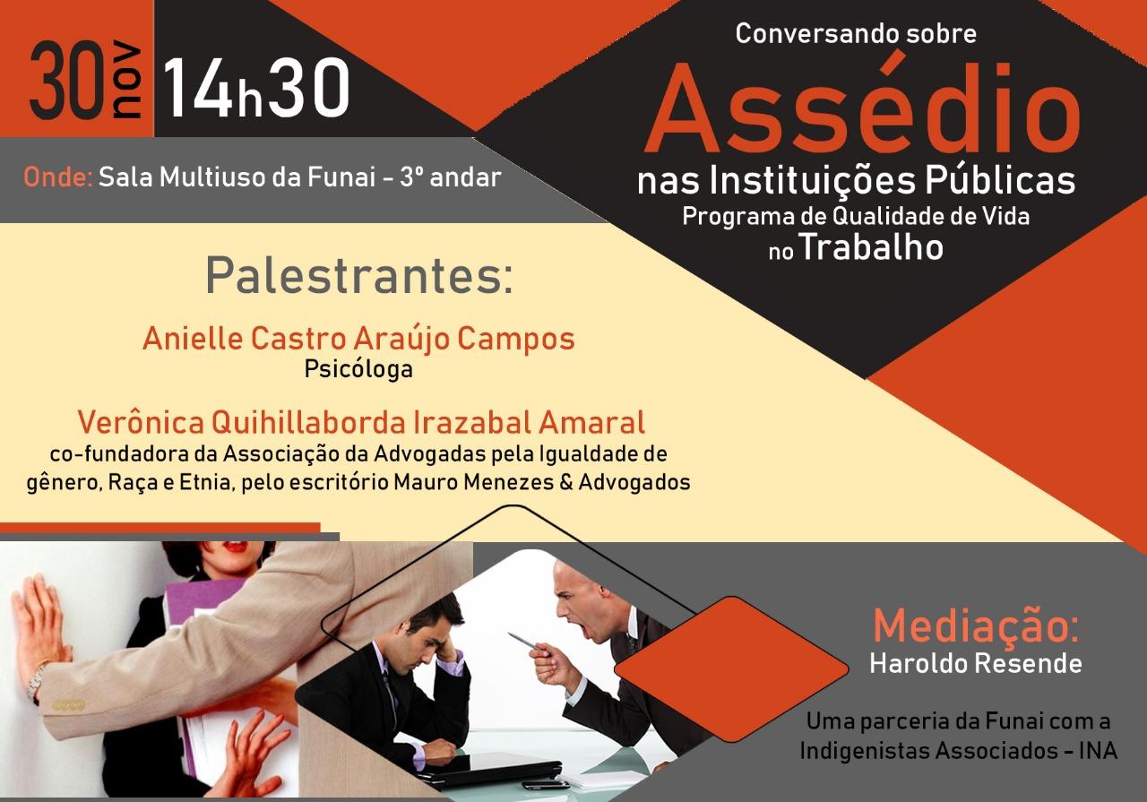 Nesta sexta: palestra Conversando sobre Assédio nas Instituições Públicas