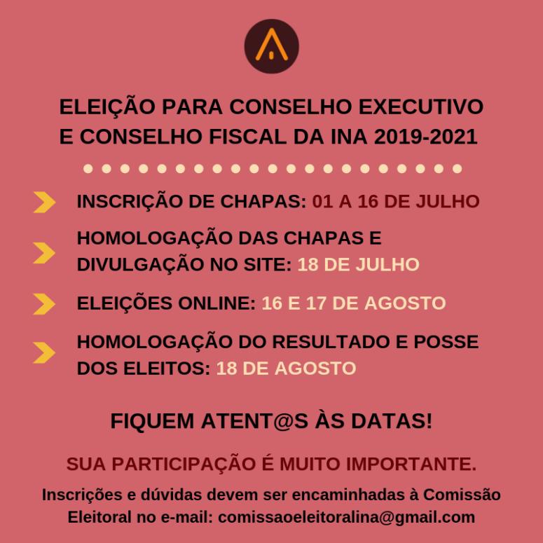 ELEIÇÃO PARA CONSELHO EXECUTIVO E CONSELHO FISCAL DA INA PARA 2019-2021.